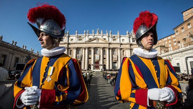 Swiss Guards Wearing 3D Helmets