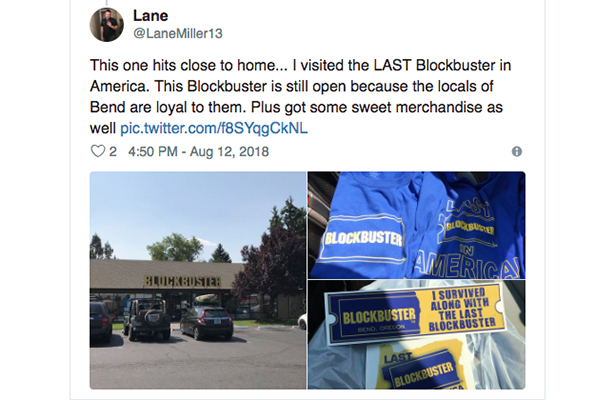 Fan Tweet About Last Blockbuster